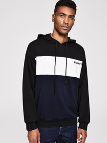 Men Letter Print Cut-and-sew Drawstring Hoodie