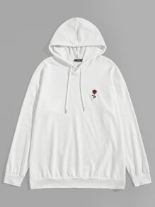 Men Rose Embroidery Drawstring Hoodie