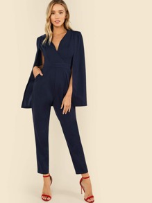 Surplice Neck Solid Cape Jumpsuit