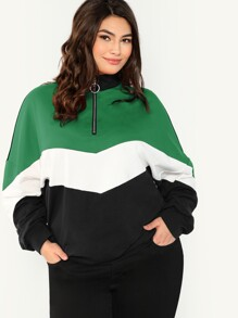 Plus Zip Placket Color Block Chevron Sweatshirt
