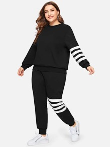Plus Striped Side Pullover & Sweatpants Set