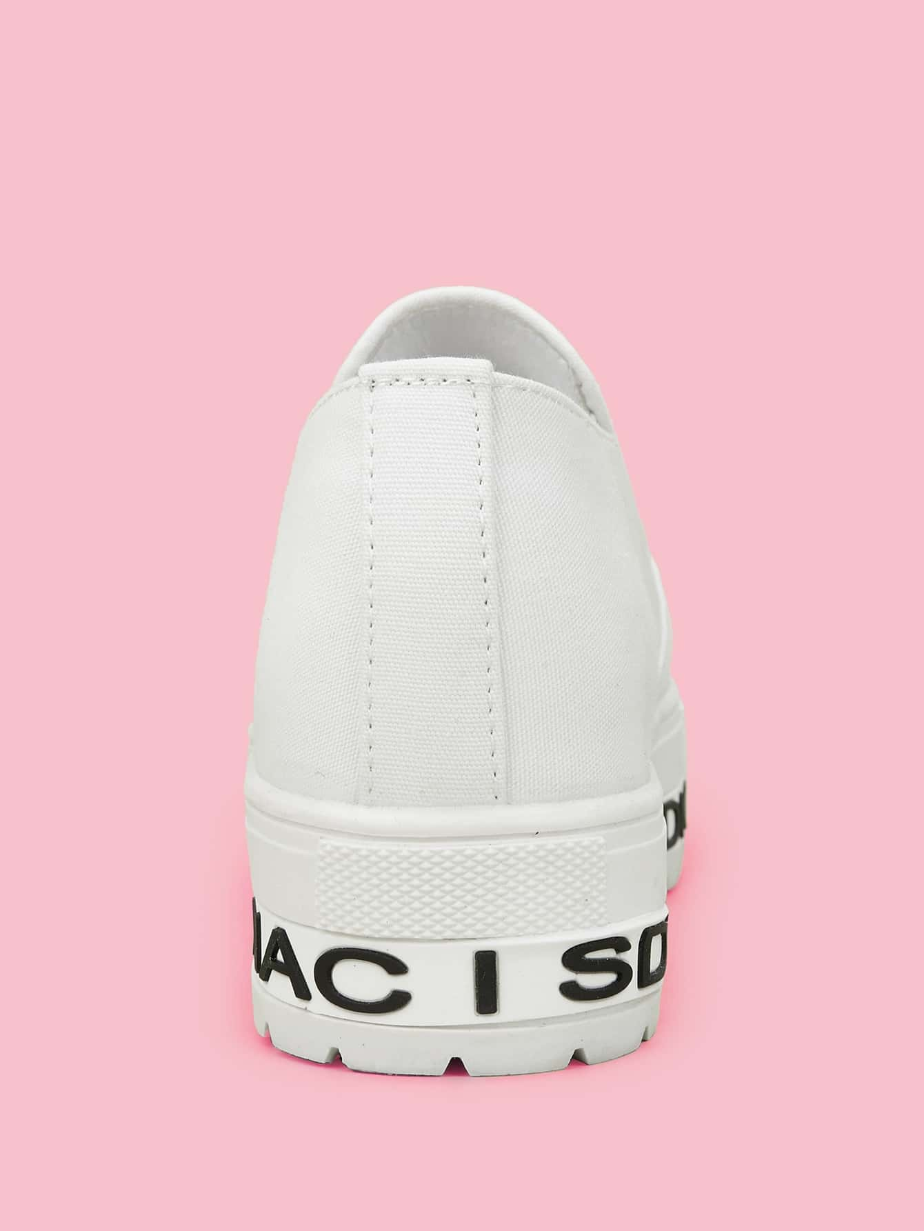 bc6a6ef865 Letter Print Lug Sole Wedge Sneakers | SHEIN