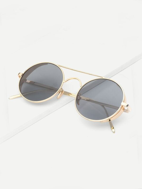 4985f5775 Men Top Bar Round Lens Sunglasses | SHEIN IN