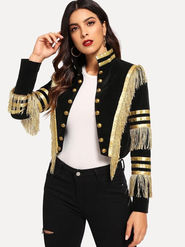 Fringe Patched Metallic Stripe Jacket by Shein