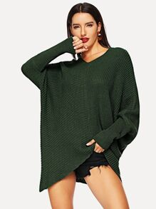 V-neck Batwing Sleeve Sweater