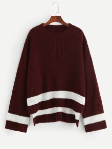 Plus Stepped Hem Striped Jumper