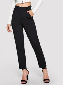 Button Up Solid Straight Leg Pants