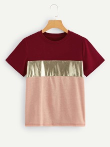 Cut And Sew Metallic Tee