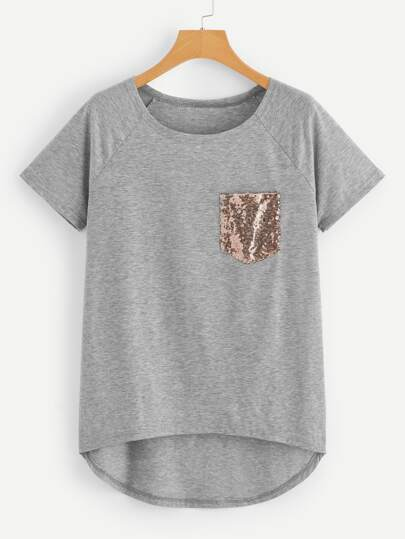 Sequin Pocket Dip Hem Tee