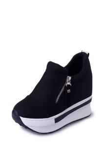 Side Zip Slip On Wedge Sneakers
