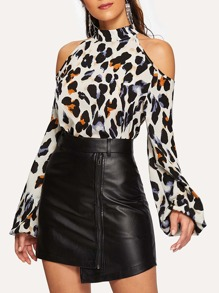 Cold-shoulder Leopard Print Blouse