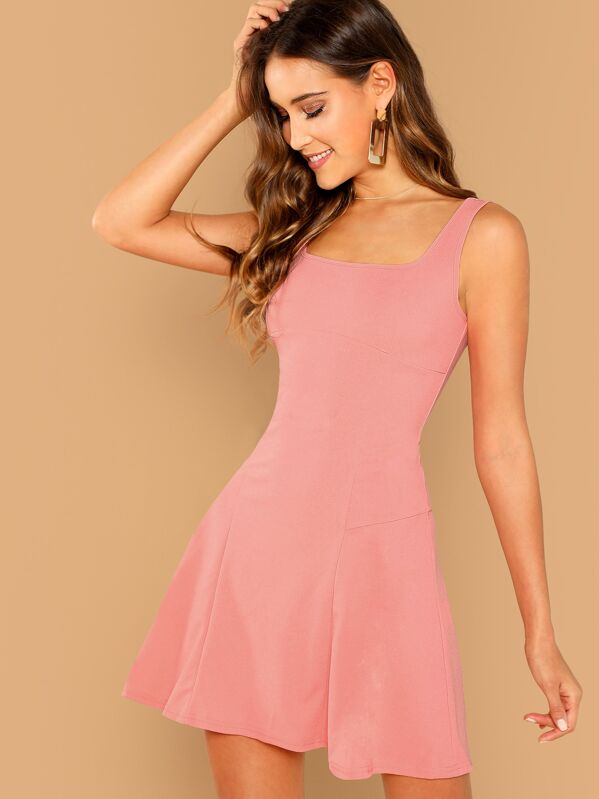 8e133a6537 Solid Skater Tank Dress | SHEIN