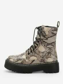 Snakeskin Pattern Lace-up Boots