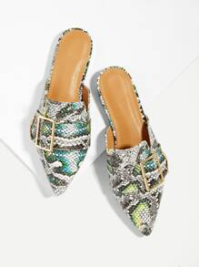 Snakeskin Pattern Buckle Decor Mule Flats