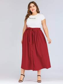 Plus Knot-front Single Breasted Skirt
