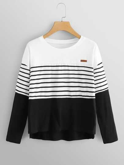645e335a6f Plus Striped Panel High Low Tee