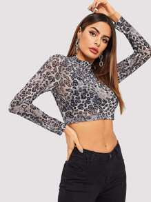 Mock-Neck Sheer Leopard Print Top