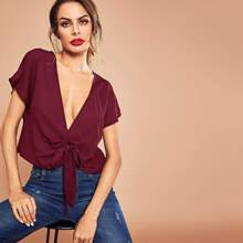 Deep V Neck Knotted Front Crop Top
