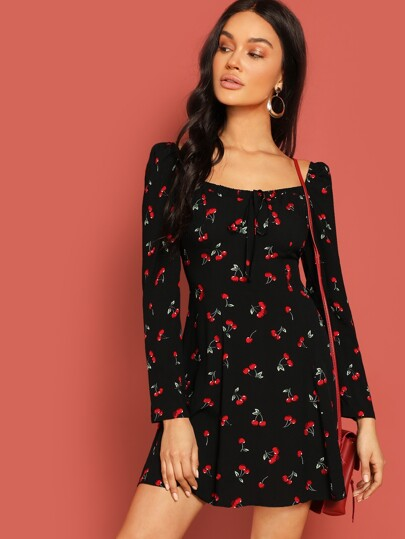 Tied Square Neck Cherry Print Tea Dress