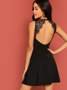 Lace Insert Open Back Skater Dress