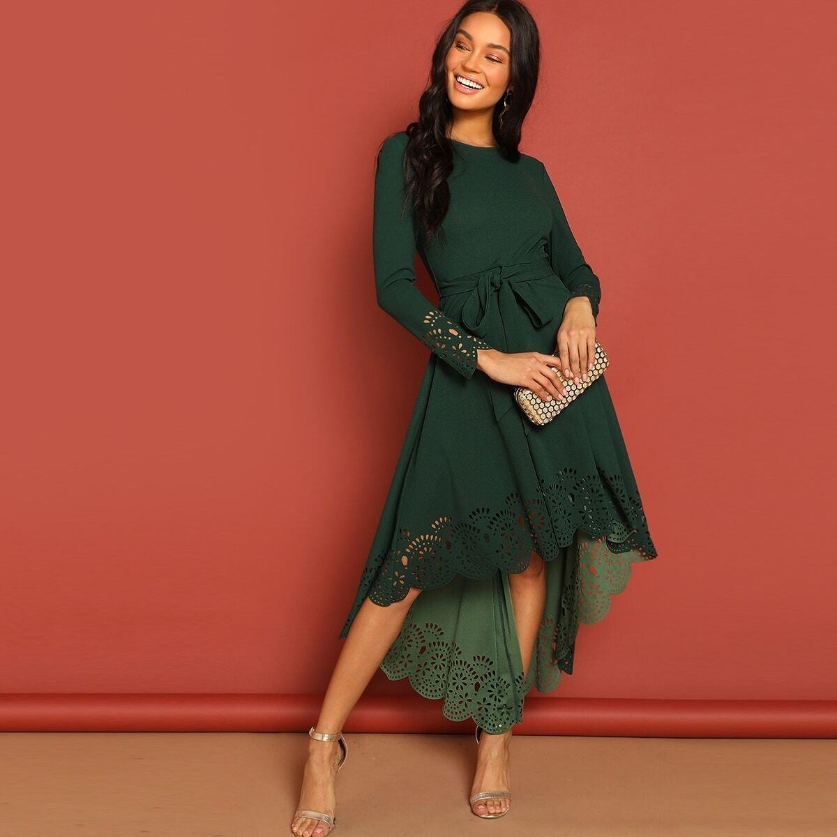 Платье Хай Лоу с Лазерной Обработкой по низу от SHEIN