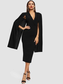 Shawl Neck Cape Sleeve Pencil Dress