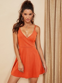 Double V Neck Surplice Cami Dress