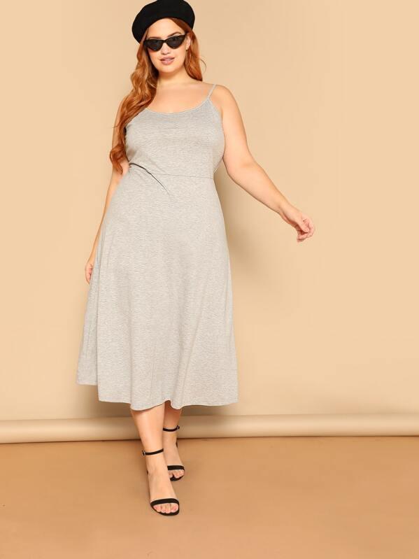 8e211051f7 Plus Heather Gray Cami Dress | SHEIN