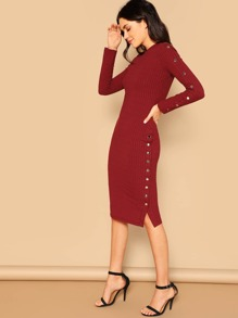 Rib-knit Button Side Slit Midi Dress