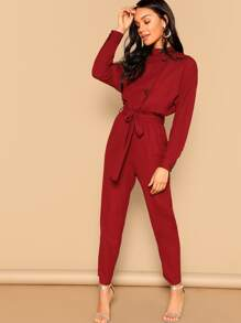 Drop Shoulder Button Front Self Belted Jumpsuit