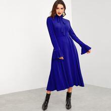 Tie Neck Bell Sleeve Flowy Pleated Dress