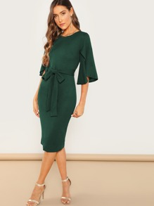 Split Flutter Sleeve Self Tie Pencil Dress