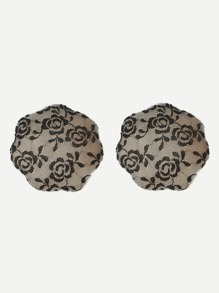 Floral Lace Overlay Self Adhesive Nipple Cover 1pair