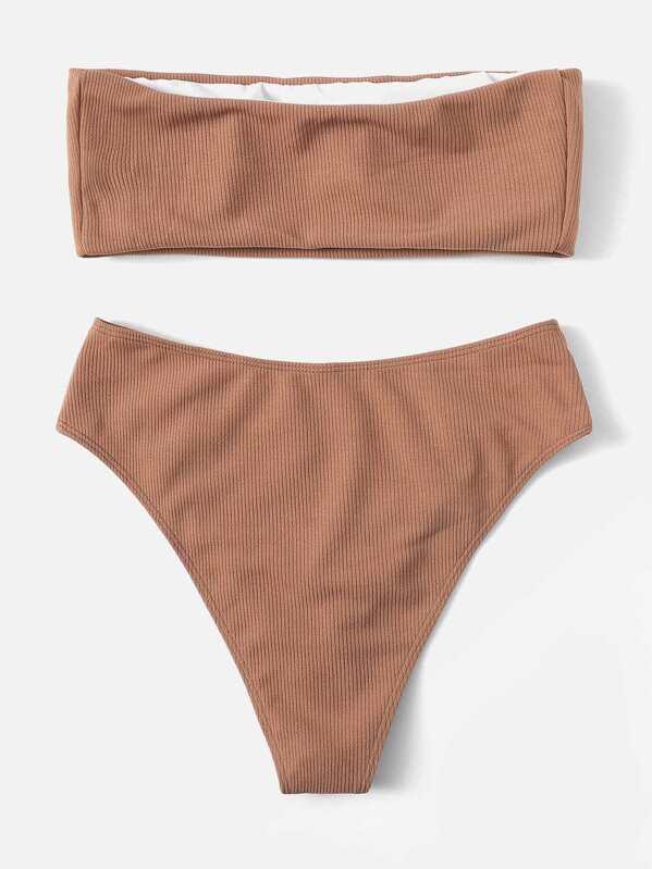 5feaca04b Bandeau de canalé con set de bikini de pierna alta
