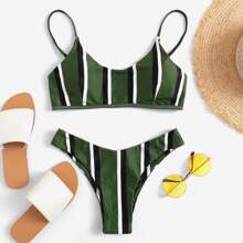 INOpets.com Anything for Pets Parents & Their Pets Striped High Cut Bikini Set