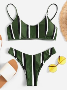 Striped High Cut Bikini Set