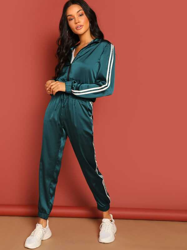d8423d5ea341 Zip Up Striped Tape Jacket & Drawstring Pants Tracksuit | SHEIN
