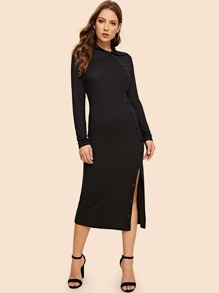 Buttoned Front Rib-knit Collared Dress