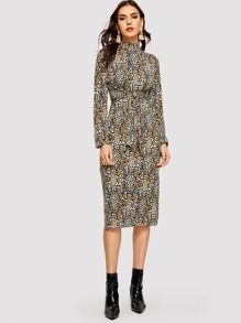 Leopard Print Mock-neck Knot Dress