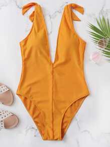 Shoulder Knot Solid One Piece Swimsuit
