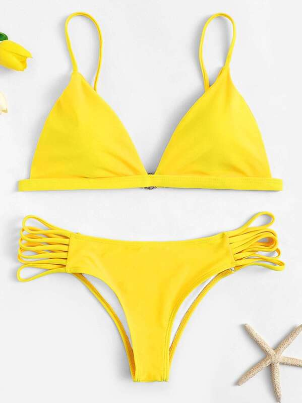 00d115953a Triangle Top With Strappy Side Bikini Set | SHEIN