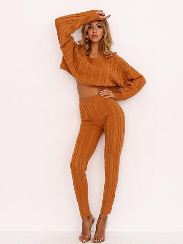 2af36b56e9907c Joyfunear Drop Shoulder Cable Knit Crop Top   Pants Set