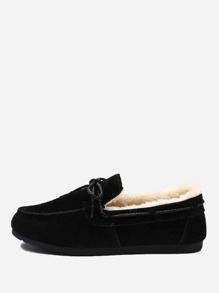 Bow Decor Faux Fur Lined Flats