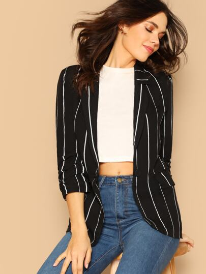 adc7595733bd Notch Collar Single Button Striped Blazer