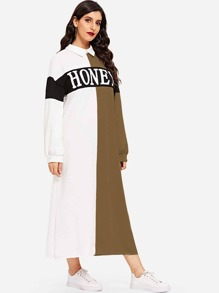 Letter Print Kehole Back Colorblock Hijab Dress