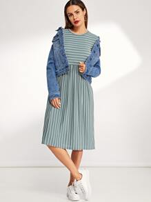 Fit and Flare Striped T-Shirt Dress