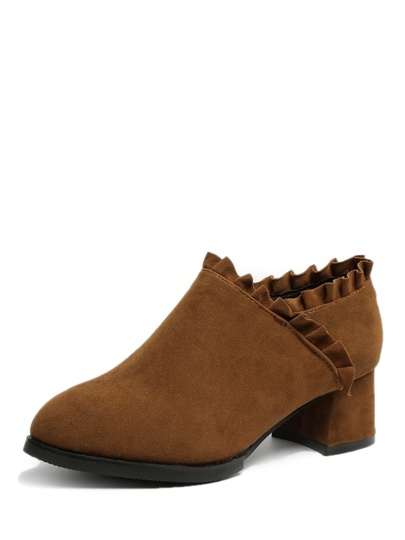 Ruffle Detail Suede Chunky Boots