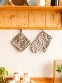Geometric Pattern Oven Glove & Pad 1 Set