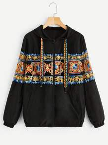 Embroidery Zip Through Hooded Jacket