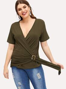 Plus Solid Deep V-neck Tee